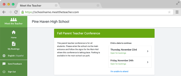 Meet the Teacher - Online Parent Teacher Conference Booking - Web